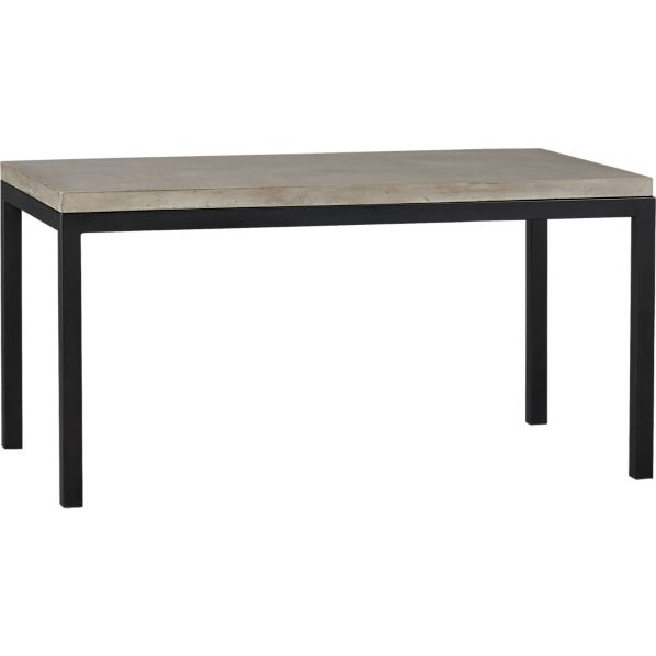Parsons Concrete Top 60x36 Dining Table with Natural Dark Steel Base