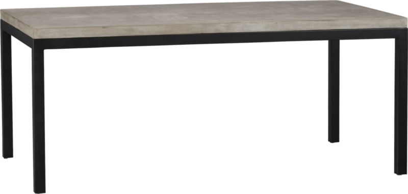 Start with a great base. Top it off with an eye-catching top. Voila—the perfect table. Hot-rolled steel frame supports with clean simple lines, hand-welded and ground at each corner to create a raw, torched millscale finish. Gorgeous warm grey concrete top mixes up a global compound sourced in Vietnam—marble, stone and granite from the mountainous Dalat region and grassy fibers from the Mekong Delta for added strength. Clean and modern material is also eco-friendly, handmade in shops powered without fossil fuels. Due to the handmade nature of the concrete mix, color will vary and may change over time. Seats eight.<br /><br /><NEWTAG/><ul><li>Cut and welded natural dark tubular steel with torched millscale finish at corners</li><li>Clear powdercoat finish on base</li><li>Handmade concrete of stone, marble, granite and natural fibers</li><li>Eco-friendly manufacture</li><li>Seats eight</li><li>Do not leave spills unattended</li><li>Wipe with damp cloth and dry</li><li>For indoor use only</li><li>Made in Vietnam</li></ul>