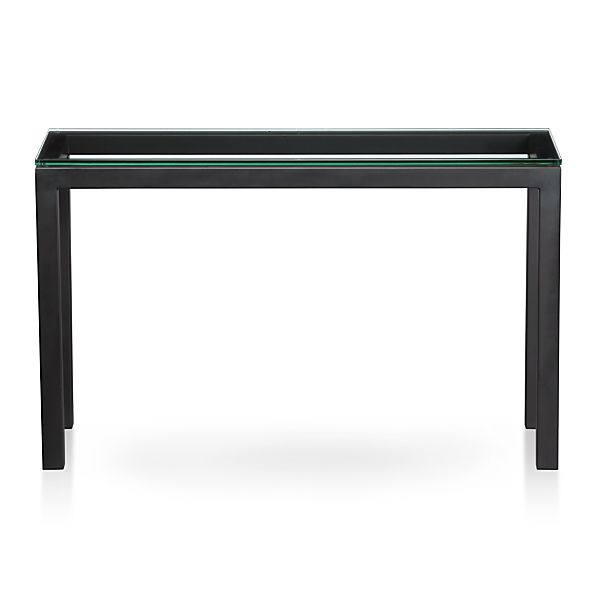 parsons console table with glass top crate and barrel