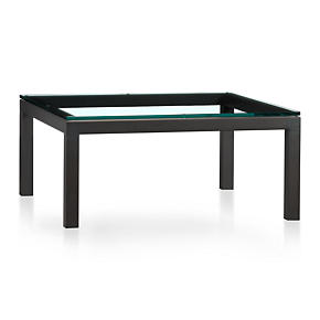 Parsons Square Coffee Table with Clear Glass Top