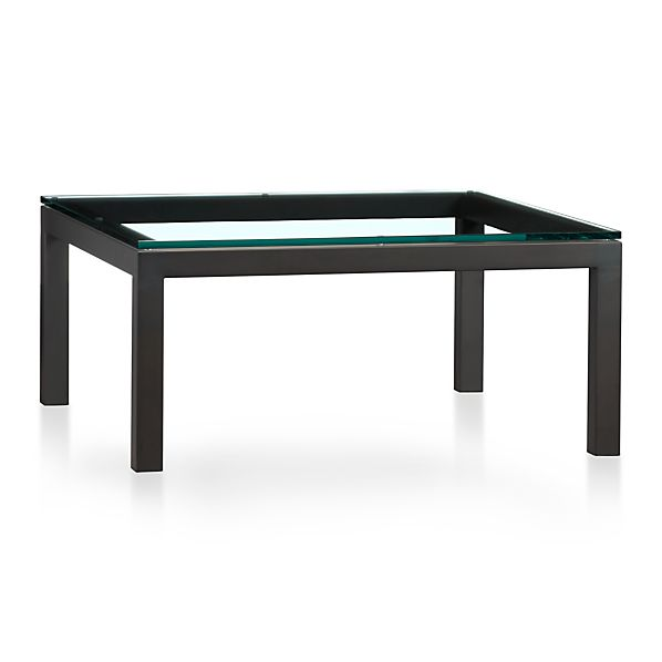 Parsons square coffee table with clear glass top in coffee tables
