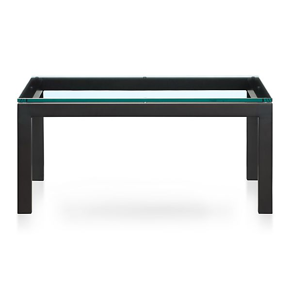 Parsons Square Coffee Table with Glass Top