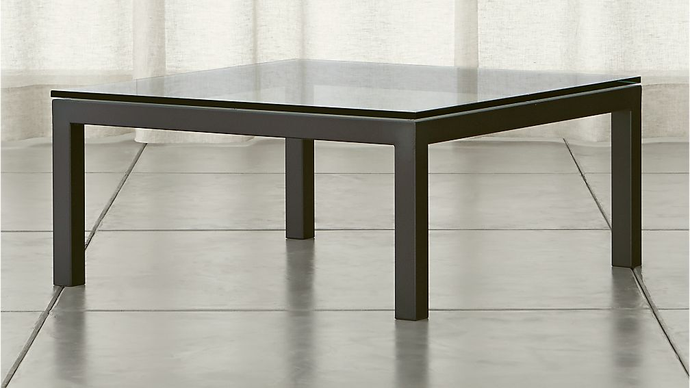 parsons square coffee table with glass top crate and barrel