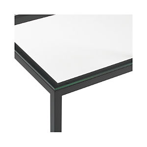 Clear Glass Top/ Natural Dark Steel Base Parsons Dining Tables