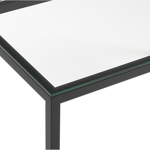 Glass Top/ Natural Dark Steel Base Parsons Dining Tables