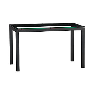 Glass Top/ Natural Dark Steel Base 48x28 Parsons Dining Table