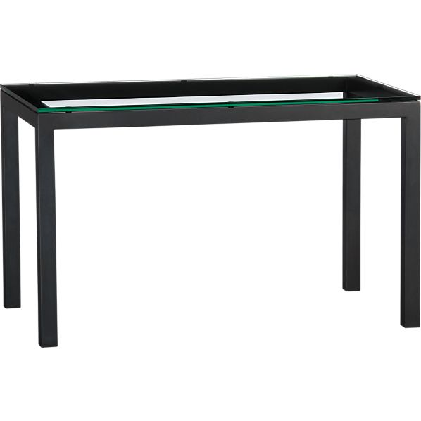 Parsons Glass Top 48x28 Dining Table with Natural Dark Steel Base