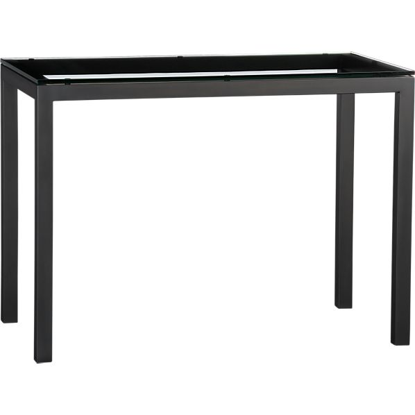 Parsons Glass Top High Dining Table with Natural Dark Steel Base