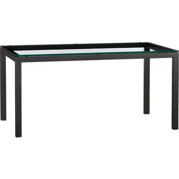 Parsons Glass Top 60x36 Dining Table with Natural Dark Steel Base