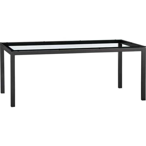 Clear Glass Top Natural Dark Steel Base 72x42 Parsons Dining Table