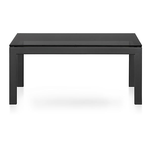 parsons square coffee table with grey glass top crate and barrel