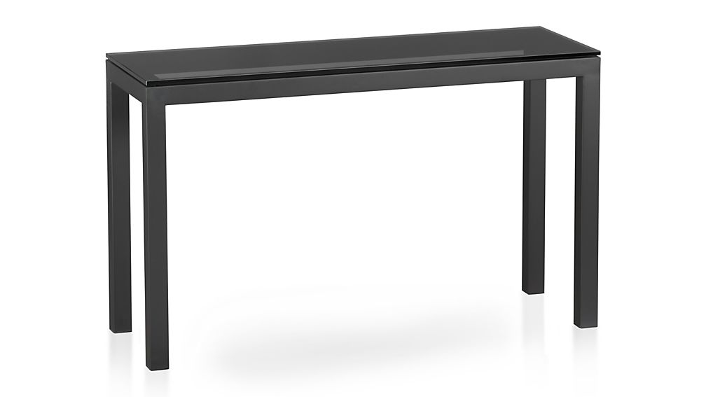 Foyer Table Crate And Barrel : Parsons console table with grey glass top in entryway
