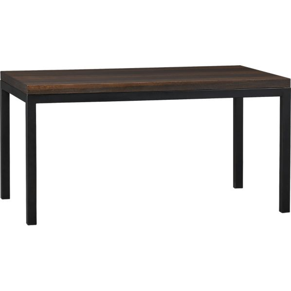 Parsons Myrtle Top 60x36 Dining Table with Natural Dark Steel Base