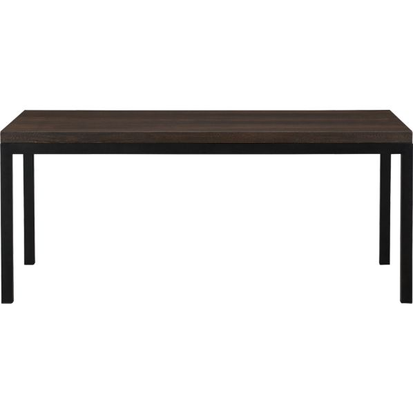 Parsons Myrtle Top 72x42 Dining Table with Natural Dark Steel Base