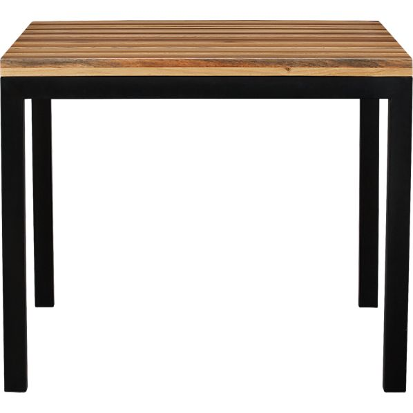 "Parsons Reclaimed Wood Top 36"" Sq. Dining Table with Natural Dark Steel Base"