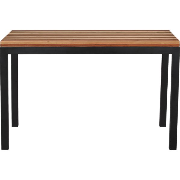 Parsons Reclaimed Wood Top 48x28 Dining Table with Natural Dark Steel Base