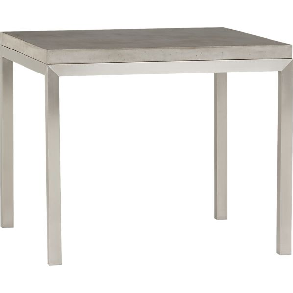 "Concrete Top/ Stainless Steel Base 36"" Sq. Parsons Dining Table"
