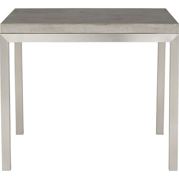 "Parsons Concrete Top 36"" Sq. Dining Table with Stainless Steel Base"