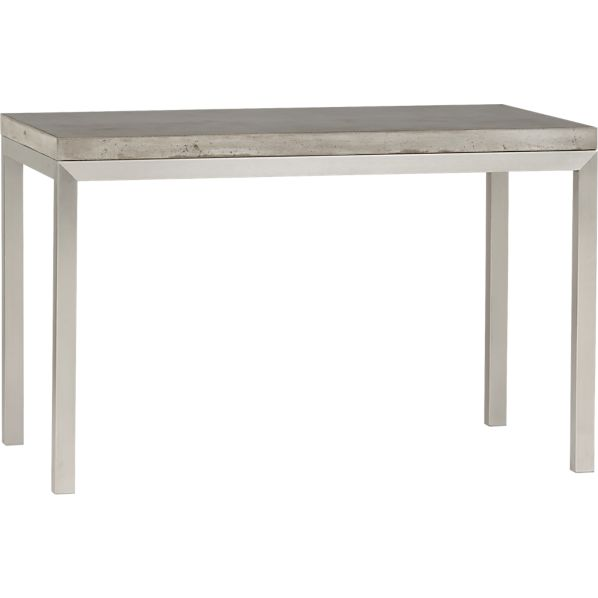 Parsons Concrete Top 48x28 Dining Table with Stainless Steel Base