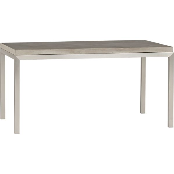 Parsons Concrete Top 60x36 Dining Table with Stainless Steel Base