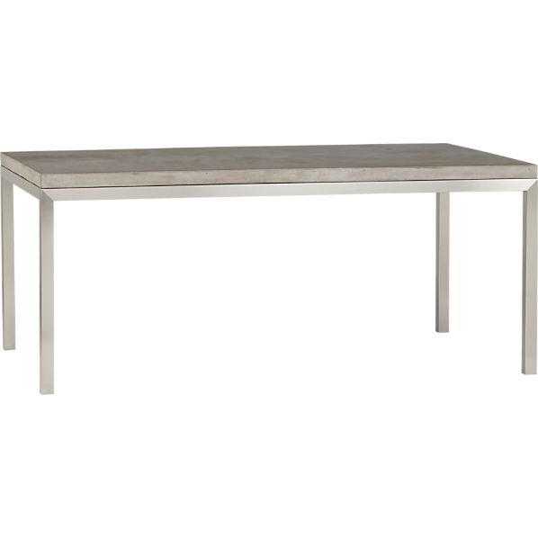 Concrete Top Stainless Steel Base 72x42 Parsons Dining
