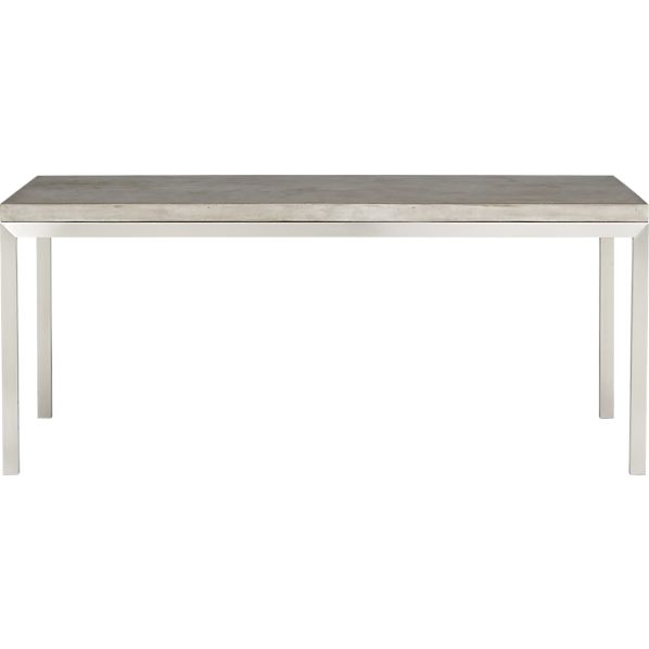 Parsons Concrete Top 72x42 Dining Table with Stainless Steel Base