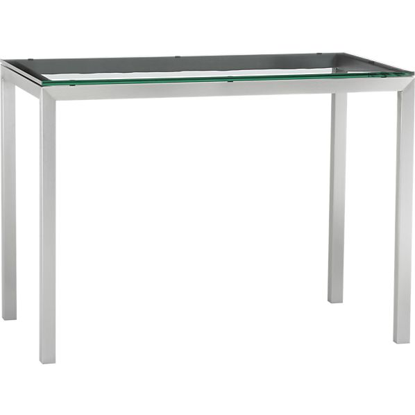 Glass Top/ Stainless Steel Base 48x28 Parsons High Dining Table