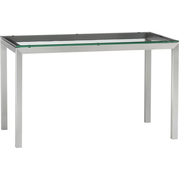 Glass Top/ Stainless Steel Base 48x28 Parsons Dining Table