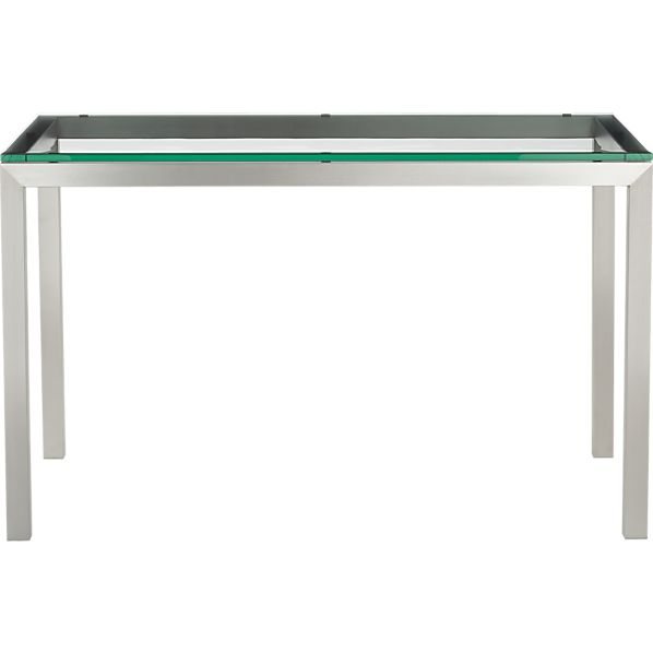 Parsons Glass Top 48x28 Dining Table with Stainless Steel Base