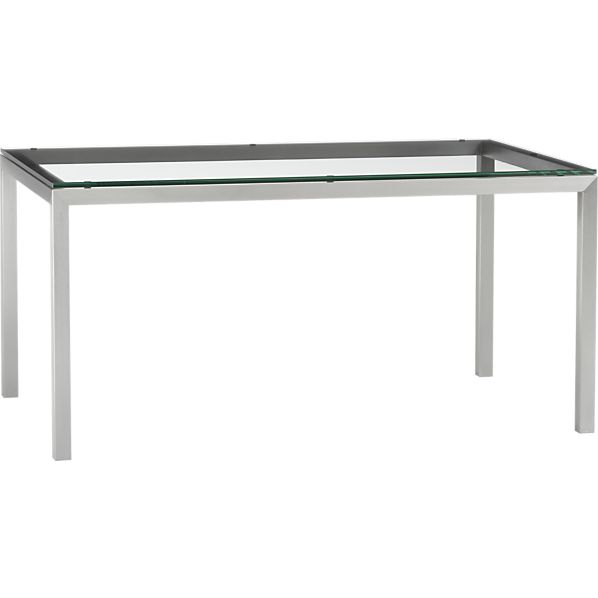 Parsons Glass Top 60x36 Dining Table with Stainless Steel Base