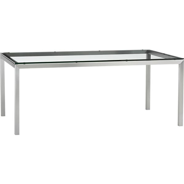 Clear Glass Top Stainless Steel Base 72x42 Parsons Dining