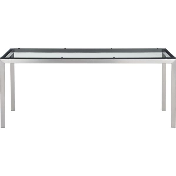 Parsons Glass Top 72x42 Dining Table with Stainless Steel Base