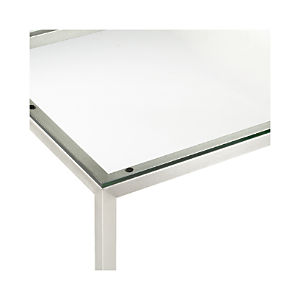 Clear Glass Top/ Stainless Steel Base Parsons Dining Tables