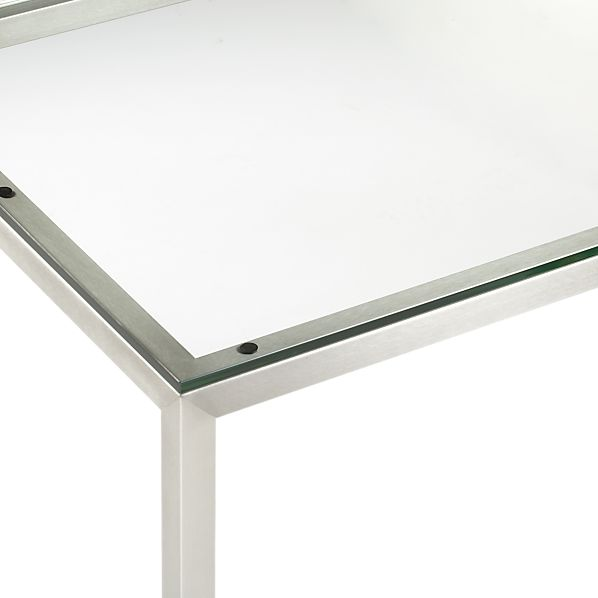 Glass Top Stainless Steel Base Parsons Dining Tables Clear Glass Top
