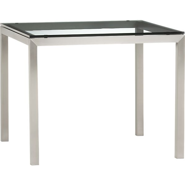 "Clear Glass Top/ Stainless Steel Base 36"" Sq. Parsons Dining Table"