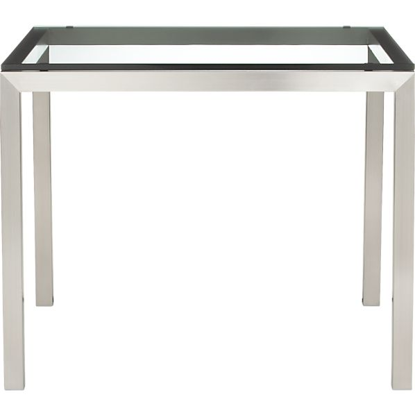 "Parsons Glass Top 36"" Sq. Dining Table with Stainless Steel Base"