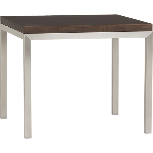 "Myrtle Top/ Stainless Steel Base 36"" Sq. Parsons Dining Table"