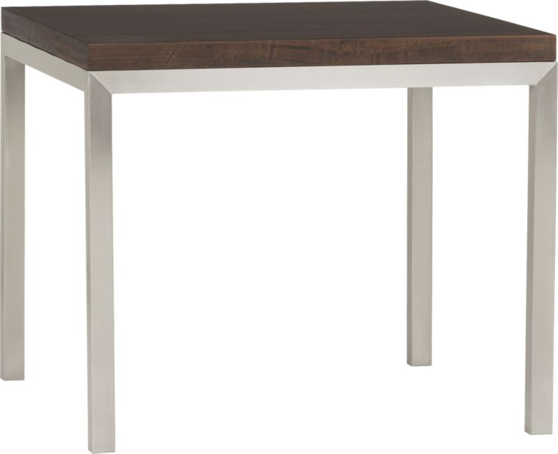 Start with a great base. Top it off with an amazing top. Voila—the perfect table. Stainless-steel frame with a contemporary matte finish supports with clean simple lines.  Gorgeous wood top is crafted of myrtle, a member of the eucalyptus family, that has been smoked to bring out its characteristic rippled pattern and ribbons that flow from deep mahogany to golden brown. Seats four.<br /><br /><NEWTAG/><ul><li>Stainless-steel base with matte finish</li><li>Myrtle (eucalyptus) wood over low-emission engineered wood</li><li>Seats four</li><li>Do not leave spills unattended</li><li>Wipe with damp cloth and dry</li><li>Made in Indonesia</li></ul>