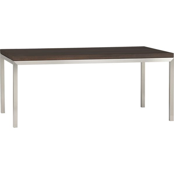 Parsons Myrtle Top 72x42 Dining Table with Stainless Steel Base