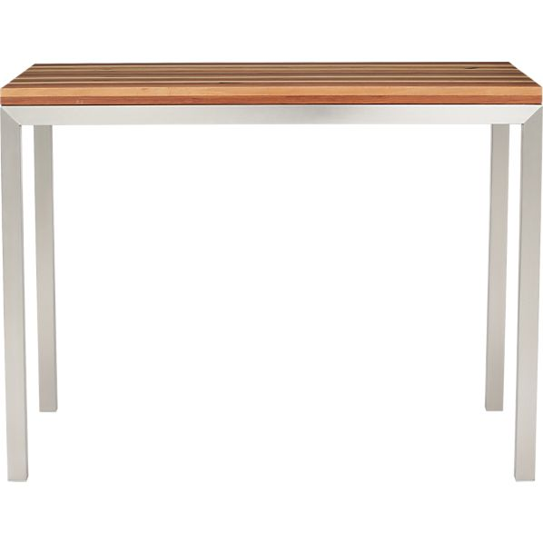 Parsons Reclaimed Wood Top 48x28 High Dining Table with Stainless Steel Base
