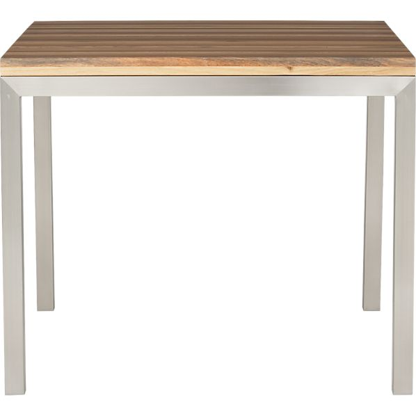"Parsons Reclaimed Wood Top 36"" Sq. Dining Table with Stainless Steel Base"