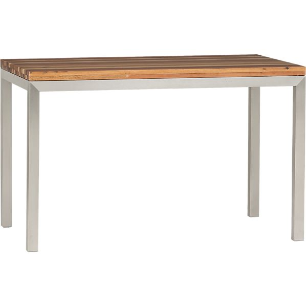 Parsons Reclaimed Wood Top 48x28 Dining Table with Stainless Steel Base