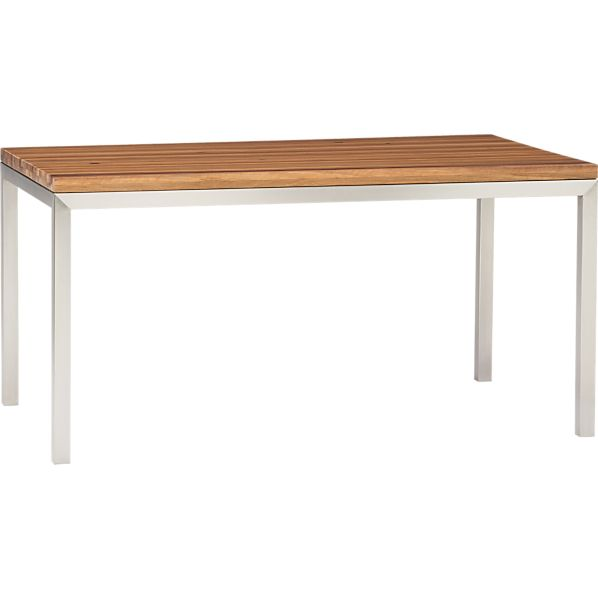 Reclaimed Wood Top Stainless Steel Base 60x36 Parsons Dining Table In Dining Tables Crate And