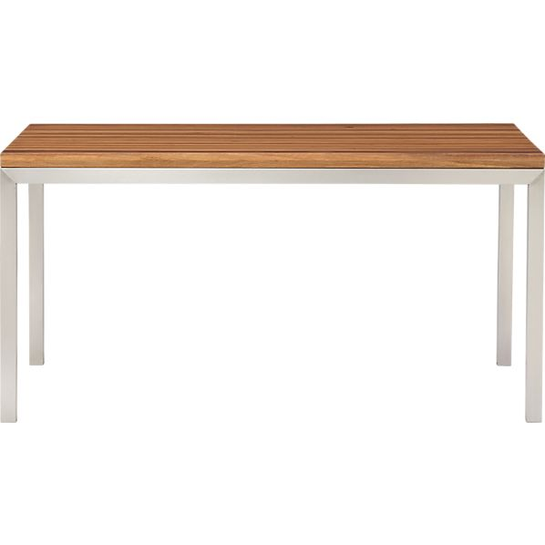 Parsons Reclaimed Wood Top 60x36 Dining Table with Stainless Steel Base