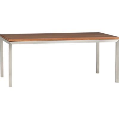 parsons reclaimed wood top 72x42 dining table with