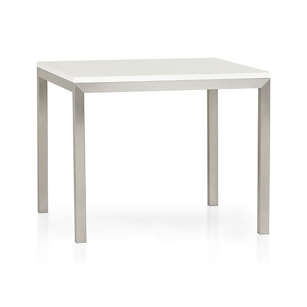 "Parsons White Top 36"" Sq. Dining Table with Stainless Steel Base"
