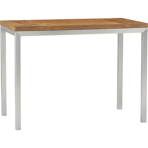 Parsons Teak Top 48x28 High Dining Table with Stainless Steel Base