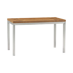 Teak Top/ Stainless Steel Base 48x28 Parsons Dining Table