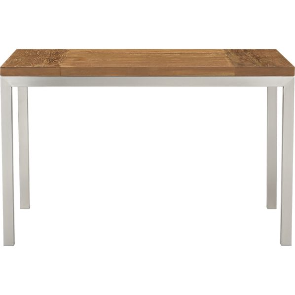 Parsons Teak Top 48x28 Dining Table with Stainless Steel Base