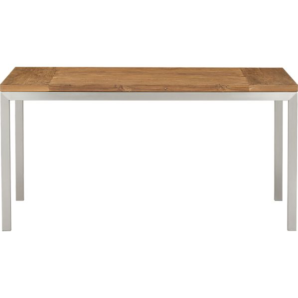 Parsons Teak Top 60x36 Dining Table with Stainless Steel Base